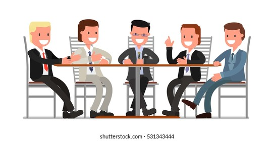 male friends, a group of friends, men, businessmen, communicate, sitting at a table in the cafe, bar, restaurant, pub. vector illustration, flat style