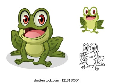 Male frog cartoon character mascot design, including flat and line art design, isolated on white background, vector clip art illustration.