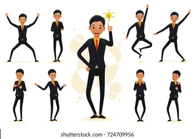 Male Funny Black African Businessman 2D Character Ready to Use Set, Wearing Suit and Tie Standing Position with Different Facial Expressions and Gestures in Isolated White Background