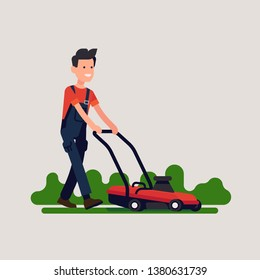 Male gardener mowing lawn. Cool vector flat illustration on gardening and grass cutting with push mower featuring caucasian man in overalls operating the machine