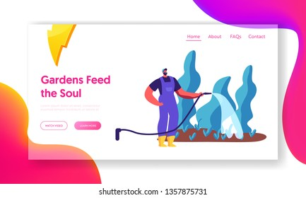 Male Gardener Watering Plant in Garden Landing Page. Man in Boots Holding Hose to Water Tree and Bush in Yard. Person Gardening Nature Website or Web Page. Flat Cartoon Vector Illustration