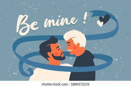 Male gay couple.Two kissing men. Be mine! Text. Lgbtq+ and romantic love concept. Homosexual greeting card for Valentine's Day. Blue ribbon.
