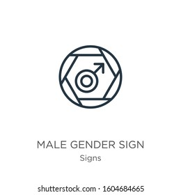 Male gender sign icon. Thin linear male gender sign outline icon isolated on white background from signs collection. Line vector sign, symbol for web and mobile