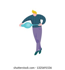 Male Glassblower Character, Man Making Glass Vessel, Hobby or Profession Vector Illustration