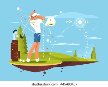 Male golfer playing golf