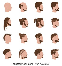 Male hairstyles vector color icons