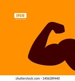 Male hand with biceps vector silhouette illustration