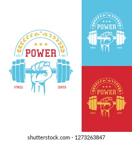 Male hand with dumbbell. Template for bodybuilding and sport fitness logo, label, emblem, badge or branding design in retro, vintage style. Vector illustration.
