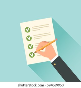 Male hand filling tax form. Vector illustration