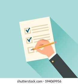 Male hand filling tax form. Vector flat illustration
