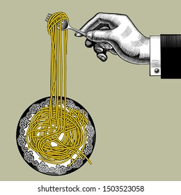 Male hand with a fork takes long spaghetti from a round plate. Vintage stylized drawing. Vector illustration