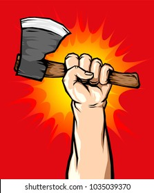 Male Hand Holding Axe in the Air,  illustration Vector.