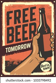 male hand holding beer bottle. Vintage design poster. Vector illustration.