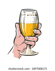 Male hand holding a beer glass. Drink vector illustration