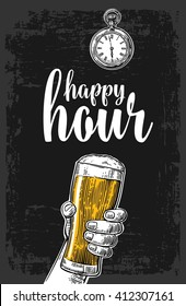 Male hand holding a beer glass. Vintage vector engraving illustration for label, poster, menu. Isolated on dark background. Happy hour.