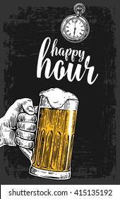 Male hand holding a beer glass. Vintage vector engraving illustration Isolated on dark background. Happy hour. Drawn sketch for bar poster,  invitation to party, web banner, label, menu