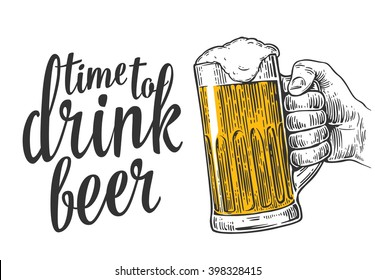 Male hand holding a beer mug. Vintage vector engraving illustration for web, poster, invitation to party time to drink. Isolated on white background