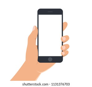 Male hand holding black smartphone with white blank screen. Man hand with mobile phone on white background. Phone display template. Flat style. Vector illustration of smart phone