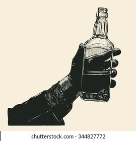 Male hand holding bottle of whiskey. hand drawn design element. engraving style. vector illustration