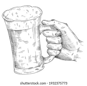 Male hand holding and clinking beer mug. Vintage vector black hatching illustration for web, poster, invitation to party. Isolated on white background.