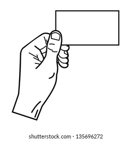 male hand holding empty card linear style
