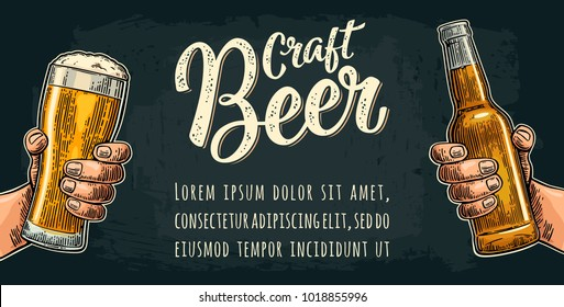 Male hand holding glass and bottle. Craft Beer calligraphic lettering. Vintage color vector engraving illustration for web, poster, invitation to party or festival. Isolated on dark background