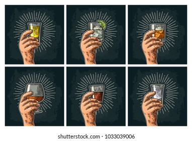 Male hand holding glass with brandy, tequila, gin, vodka, rum, whiskey. Vintage vector color engraving illustration for poster, invitation party. Isolated on dark background. Hand drawn design element