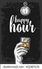 Male hand holding a glass with whiskey and ice cubes. Vintage vector engraving illustration for label, poster, menu. Dark background. Happy hour.