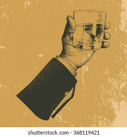 Male hand holding a glass of whisky.Vintage style.Vector illustration
