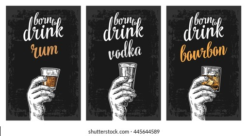Male hand holding a glasses with vodka, rum, bourbon and ice cubes. Vintage vector engraving illustration for label, poster, invitation to party and birthday.