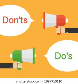 Male hand holding megaphone with Do's and Don'ts speech bubble. Vector stock illustration.