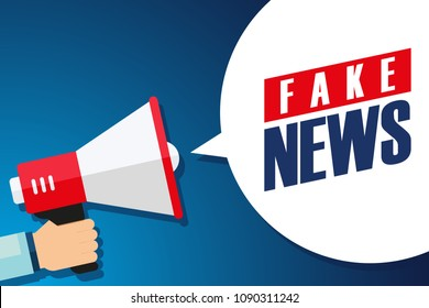 Male hand holding megaphone with Fake News speech bubble. Loudspeaker. Vector illustration.