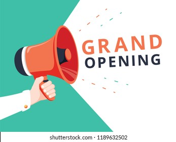 Male hand holding megaphone with Grand opening! speech bubble. Loudspeaker. Banner for business, marketing and advertising. Vector illustration. Advertising banner for social network or website poster