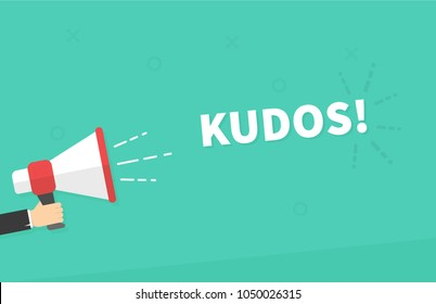 Male hand holding megaphone with Kudos speech bubble. Loudspeaker. Banner for business, marketing and advertising. Vector illustration