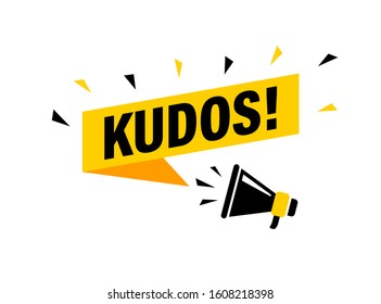 Male hand holding megaphone with Kudos speech bubble. Loudspeaker. Banner for business, marketing and advertising. Vector illustration.