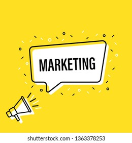 Male hand holding megaphone with marketing speech bubble. Loudspeaker. Banner for business, marketing and advertising. Vector illustration