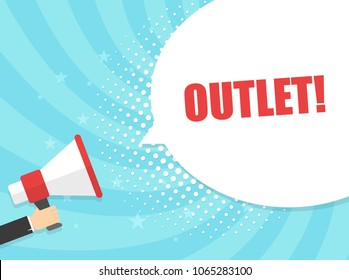 Male hand holding megaphone with outlet speech bubble. Loudspeaker. Banner for business, marketing and advertising. Vector illustration