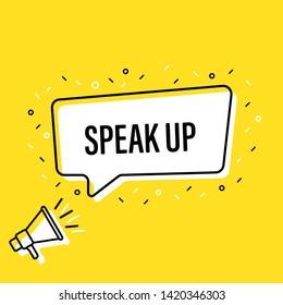 Male hand holding megaphone with speak up speech bubble. Loudspeaker. Banner for business, marketing and advertising. Vector illustration.