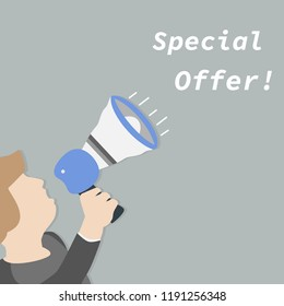 Male hand holding megaphone with Special Offer speech bubble. Vector illustration.