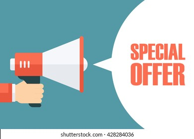 Male hand holding megaphone with Special Offer speech bubble. Loudspeaker. Special Offer banner for business, promotion and advertising. Vector illustration.