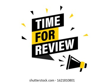 Male hand holding megaphone with time for review speech bubble. Loudspeaker. Banner for business, marketing and advertising. Vector illustration.