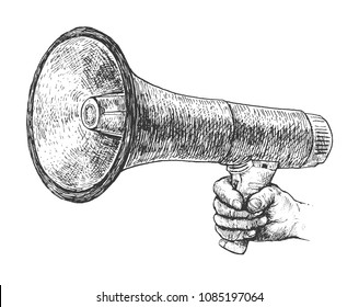 Male hand holding megaphone. Vintage Hand Drawn retro Illustration in ancient engraving style