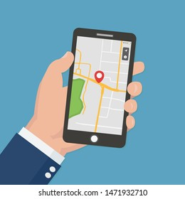 Male hand holding phone with map and pointer. Mobile gps navigation and tracking concept. Flat vector illustration for web sites, banners. Location track app on touch screen smartphone