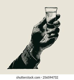Male hand holding a shot of alcohol drink. hand drawn design element. engraving style. vector illustration