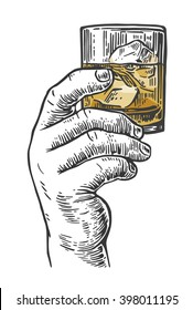 Male hand holding a shot of alcohol drink.  Vintage vector engraving illustration for label, poster, invitation to a party.