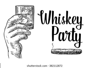 Male hand holding a shot of whiskey with ice cubes and cigar. Drawn design element. Vintage vector engraving illustration for label, poster, invitation to a party