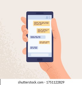 Male hand holding smartphone with message chart on screen vector flat illustration. Human arm with mobile phone messenger application on display isolated on white. Modern online communication