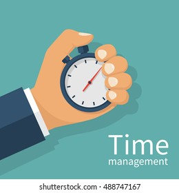 Male hand holding stopwatch. Time management concept. Flat design style vector illustration. Time control, planning. Isolated on background.
