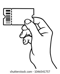 Male hand holding ticket, ticket in hand, vector illustration.