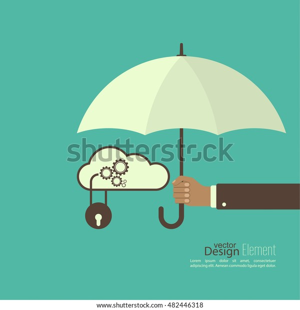 Male hand holding an umbrella. The concept of protection, personal data, databases.